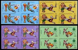 LIBYA 1982 World Cup Spain Football Soccer IMPERF.4-BLOCKS:4 (16 Stamps) - Libye