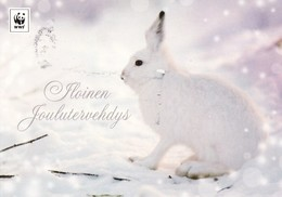Postal Stationery - Forest Rabbit - Hare In Winter Landscape - WWF Panda Logo - Suomi Finland - Postage Paid - Finlande