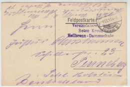 Feldpost Vom Vereinslazarett Vom Roten Kreuz Heilbronn-Dammschule 4.2.15 - Alemania