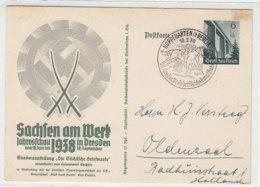 Sachsen Am Werk .. Ganzsache Aus HOPPEGARTEN (b.Berlin) 18.9.38 Mit SST Nach Oldenzaal / Rückseite Unbeschrieben - Storia Postale