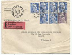 GANDON 15FR BLEU X6+5FR LETTRE EXPRES MARSEILLE 10.12.1953 POUR SUISSE AU TARIF - 1945-54 Marianne De Gandon