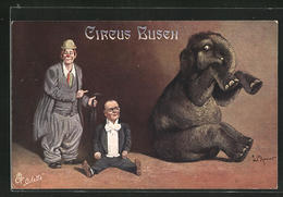 Künstler-AK Zirkus Busch, Nummer Mit Clowns Und Elefant - Zirkus