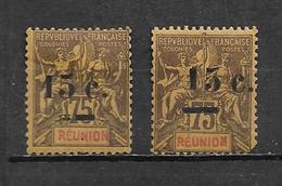 Colonies Timbre De Réunion De 1901 N°54 + 54d (1 Dent Courte Sur Le 54d )  Neufs * Cote 100€ - Reunion Island (1852-1975)