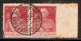 "(Fb).Regno.V.E.III.1925-26.VARIETA'.""Giubileo Re"".60c Carminio Usato Non Dentellato A Destra (449-16) - 1900-44 Vittorio Emanuele III"