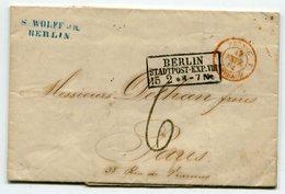 BERLIN Pour PARIS LAC Du 15/02/1861 TFM De 6+ Entrée 4 PRUSSE 4 FORBACH Rouge - Postmark Collection (Covers)