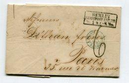 BERLIN Pour PARIS LAC Du 26/01/1861 TFM De 6+ Entrée 3 PRUSSE 3 VALENCIENNES Bleu - Storia Postale