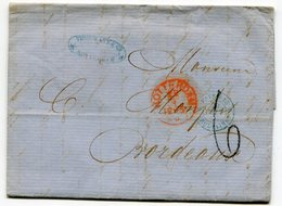 ROTTERDAM Pour BORDEAUX LAC Du 28/04/1866 Avec TFM De 6 + Entrée 2 PAYS BAS 2 ERQUELINES Bleu - Postmark Collection (Covers)