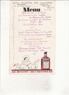 MENU 3 Avril 1938 Hotel Moderne Des Courriers 53 Rue Georges Clemenceau TROYES  COINTREAU - Menus