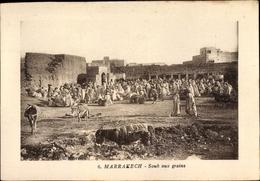 Cp Marrakesch Marokko, Souk Aux Grains, Getreidemarkt, Esel, Araber, Maghreb - Animaux & Faune