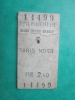 ANCIEN TICKET SNCF Métro PARIS - 1° Classe - Station PARIS - NORD - 1968 - BE - Chemins De Fer