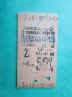 ANCIEN TICKET SNCF Métro PARIS - 2° Classe - 50 % Réduit -  GARE PARIS - LYON - Tonnerre - 1963 - TBE - Chemins De Fer