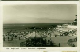 CHILE - VALPARAISO - BALNEARIO TORPEDERAS - RPPC POSTCARD 1950s  - STAMPS  (BG1936) - Chili