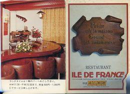 """Japon - Tokyo - Document Publicitaire Dépliant Du Restaurant :"""" Ile De France """" - André Pachon - Factures & Documents Commerciaux"""