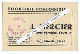 69 - LYON - BIJOUTERIE - HORLOGERIE - J. MERCIER  - Carte Commerciale - Quai Perrache à Lyon -1959 - Lyon