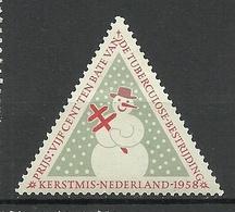 NETHERLANDS 1958 Vignette Christmas Weihnachten Snow Man * - Kerstmis