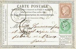 54 + 53 Cérès Repub Franc 10 C. Brun Rose Et 5 C. Vert Jaune Carte Postale Pour Nimes 21-12-1873 - 1871-1875 Cérès