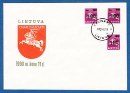 LITHUANIA 1993 F.D.C. 100 OVERPRINT DEFINITIVE NO ADDRESS  MICHEL 522 - Lithuania