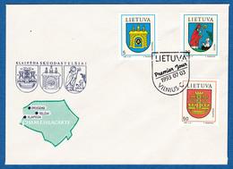 LITHUANIA 1993 F.D.C. CITY COATS-OF-ARMS  NO ADDRESS  MICHEL 526-528 - Lithuania