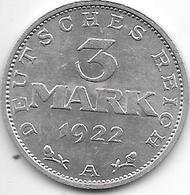 *weimar Rep 3 Mark  1922  A  Km 29    Xf+ - 3 Marcos & 3 Reichsmark