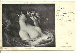 FEMME A LA ROSE Par D. ENJOLRAS - NU FEMININ - Tableaux