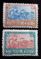 1918 Uruguay Yt 214, 215 . Liberty Extending Peace.  Promulgation Of The Constitution Of 1918. Neufs Traces Charnières - Uruguay