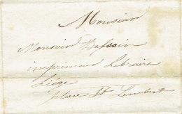 Précurseur Lettre Du 12/1/1847 Envoyée Par Le Messager HOUET De OCQUIER à LIEGE - Signé FRANCOIS Instituteur - 1830-1849 (Belgique Indépendante)