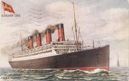 """H.M.S. Aquitania. Cunard Line Ship""  Tuck Oiette Celebrated Liners Series PC # 8690 - Tuck, Raphael"