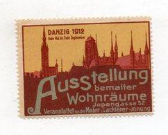 S1917/ Alte Reklamemarke Danzig Ausstellung Bemalter Wohnräume 1912  - Publicité
