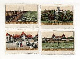 S1925/ 4 X Reklamemarke Ostseebad Zoppot B. Danzig Litho Steinzeichnung Ca.1910 - Publicité