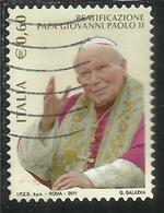 ITALIA REPUBBLICA ITALY REPUBLIC 2011 BEATIFICAZIONE PAPA GIOVANNI PAOLO II € 0,60 USATO USED OBLITERE' - 6. 1946-.. Repubblica
