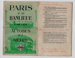 PARIS ET SA BANLIEUE PAR LES AUTOBUS ET LE METRO - M  R.A.T.P - ILLUSTRATION BUS + RAME METRO - AUTOBUS LIGNE DE SCEAUX - Europe
