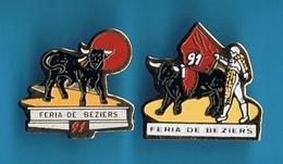 2 PIN'S //  ** FERIA DE BEZIERS // '91 ** - Tauromachie - Corrida