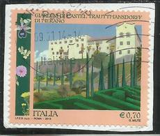 ITALY REPUBLIC ITALIA REPUBBLICA 2013 GIARDINI DI CASTEL TRAUTTMANSDORFF DI MERANO € 0,70 USATO USED OBLITERE' - 6. 1946-.. Repubblica
