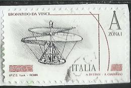 ITALIA REPUBBLICA ITALY 2015 LEONARDO DA VINCI LEONARDESCA MACCHINE VOLANTI A ZONA 1 USATO USED OBLITERE' - 6. 1946-.. Repubblica