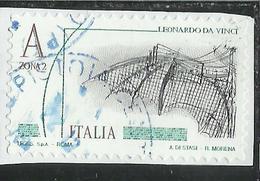 ITALIA REPUBBLICA ITALY 2015 LEONARDO DA VINCI LEONARDESCA CODICE ATLANTICO ALA MECCANICA A ZONA 2 USATO USED OBLITERE' - 6. 1946-.. Repubblica