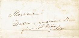 Lettre Du 21/10/1853 Envoyée Par Le Messager DELHAUTEUR De STATTE à LIEGE - Signé LESPINEUX-RANWEZ - Belgique