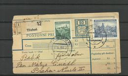 Bohemia & Moravia - Paketkarte, Trebon 1939 - Bohemia & Moravia