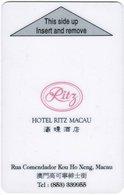 MACAO   KEY HOTEL Hotel Ritz Macau - Hotel Keycards