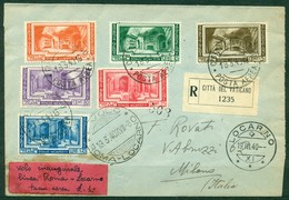 V9621 PRIMO VOLO FIRST FLIGHT 1940 CITTA' DEL VATICANO Primo Volo Roma-Locarno 19.3.40, Aerogramma Raccomandato Da Città - Vatican