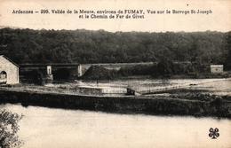 VALLEE DE LA MEUSE ENVIRONS DE FUMAY -08- VUE SUR LE BARRAGE ST JOSEPH ET LE CHEMIN DE FER DE GIVET - Fumay