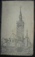 PDGL. 3. Dessin D'une église Format CP. Signature à Déterminer - Estampes & Gravures