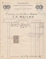 Facture Illustrée 26/12/1886 MAILHE Fonderie ORTHEZ Basses Pyrénées  à M. De Bailleux - 1800 – 1899