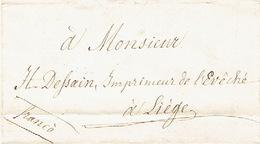 """Précurseur Lettre Du 12/1/1847 +manuscrit """" Franco"""" Par Porteur De VERVIERS à LIEGE - Signé ANGENOT Imprimeur à VERVIERS - 1830-1849 (Belgique Indépendante)"""