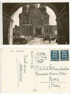 Eesti Estonia Car Parade At Reval Tallinn Cathedral B/w Pcard 6aug1935 X Italy With 2 Stamps - Estonie