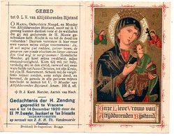 Vracene Vrasene 1920   Devotieprent Devotie Bidprentje Prentje Missie Paters Redemptoristen Gouddruk Gold Print - Images Religieuses