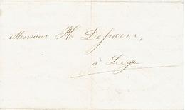 Lettre Du 3/12/1860 Envoyée Par Messager De VERVIERS à LIEGE - Signé L. J. CROUQUET Imprimeur à VERVIERS - Belgique