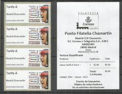 ESPAÑA SPAIN ATM MADRID CHAMARTIN 2019 LETRAS  TARIFA A X 4 CON RECIBO - Idioma