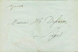Lettre Du 5/9/1850 Envoyée Par Porteur De VERVIERS à LIEGE - Signé G. NAUTET Imprimeur à VERVIERS - Belgique