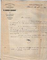 VP14.187 - Lettre - Diamants Bruts & Taillés - Perles - Perles De Couleurs F. ANGILBERT à PARIS Rue De Provence - France