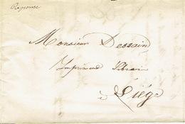 Précurseur Lettre Du 26/9/1847 Envoyée Par Porteur De VERVIERS à LIEGE - Signé A. REMACLE Imprimeur-libraire à VERVIERS - 1830-1849 (Belgique Indépendante)